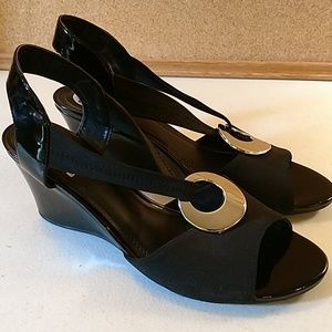 Impo black and silver slip on heels